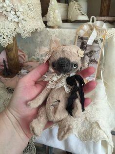 whimsical Teacup Pug Dog artist mohair teddy bear vintage style teddy bear by Olive Grove Primitives