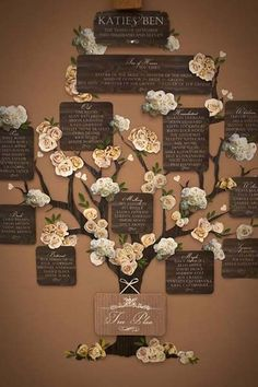 This family tree-inspired seating chart makes a beautiful accent at a rustic wedding. Guests can read about the couple's families before being directed to their table.Photo courtesy of Katie Sue Design Co.: