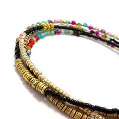 Multi strand seed bead bracelet, wrap beaded bracelet, layering necklace, boho, bohemian, stackable, anklet, colorful agate gold black brass