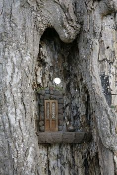 This is what I imagine my fairy doors should be used for. Fairy Door -High in a notch of the tree Fairy Garden Houses, Gnome Garden, Garden Art, Fairy Gardens, Miniature Gardens, Fairy Tree Houses, Garden Design, Fairies In The Garden, Garden Deco