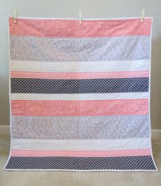 Baby quilt Toddler quilt Modern. Coral Gray While Polka