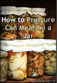 goodbye to store bought canned meals in a jar and start making your own for less money, superior quality, and regain control over how your food is made! Pressure Canning Recipes, Home Canning Recipes, Pressure Cooker Recipes, Cooking Recipes, Pressure Cooking, Mason Jar Meals, Meals In A Jar, Canning Jars, Canning 101