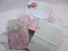 Wedding Vow Book Set  Green and Pink  with by TheMemoryKeeperShop
