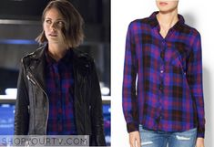 THE FLASH: SEASON 2 EPISODE 8 THEA'S ELECTRIC BLUE PLAID BUTTON DOWN SHIRT