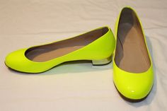 EUC Women's HTF J.Crew Citron Yellow Janey Patent Ballet Flat Size 6.5 MSRP $178 #JCrew #BalletFlats #Casual #Janey #Citron