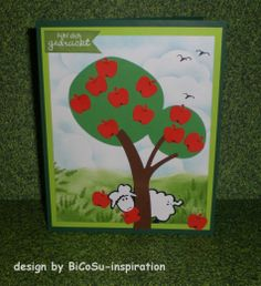 Grußkarte - Apfelbaum mit Schaf --- greeting cards with apel tree and sheep --- tree from cricut