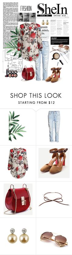 """SHEIN - Apricot Floral Print Long Sleeve Blouse"" by miss-maca ❤ liked on Polyvore featuring Laura Geller"