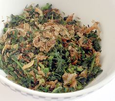 Homemade furikake recipe: radish leaves, bonito flakes, and tiny shrimp.  Keto accent dish.