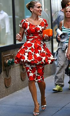 celeb trend Carrie SATC bold floral puffball dress