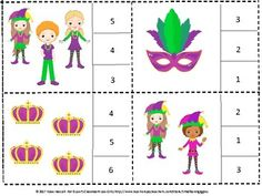 This Mardi Gras Count to 20 count and clip math packet works well for preschool, kindergarten, special education and students with autism. They will count the objects and clip a clothespin on the correct number. This set contains 20 task cards. Kindergarten Math Worksheets, Preschool Kindergarten, Math Resources, Math Activities, Math Early Finishers, Counting To 20, Special Education Math, Emergency Sub Plans, Bsl