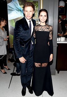Eddie Redmayne (in Gucci) and Felicity Jones (in Elie Saab) stunned at the New York premiere of The Theory of Everything.