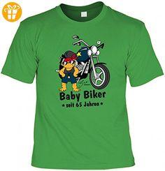 T-Shirt zum Geburtstag - Biker Baby seit 65 Jahren - lustige Geschenk-Idee zum passenden Jahrestag in der Farbe Hell-Grün, Größe:M - Shirts mit spruch (*Partner-Link)
