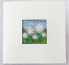 Embroidered dandelion fiber art card  5.5 inches square art
