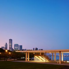 """Mies-inspired pavilion with """"biggest wooden roof possible"""" opens on Chicago lakefront"""
