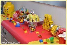 Everything is super great Anniversary Lego swee Lego Birthday Party, Birthday Table, 4th Birthday Parties, Baby Birthday, Birthday Candles, Lego Duplo, Lego Ninjago, Deco Lego, Birthday Boy Shirts