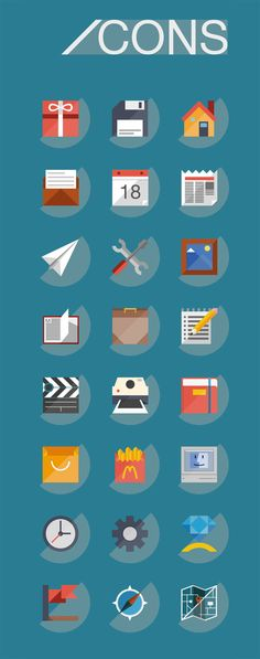 Cool flat icons, including one for McDonalds french fries