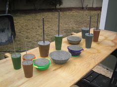 Create concrete Garden Mushrooms