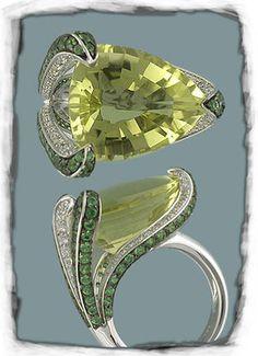 Interesting White gold Flower inspired Ring: Yellow Topaz, Green Tourmalines and White Diamonds