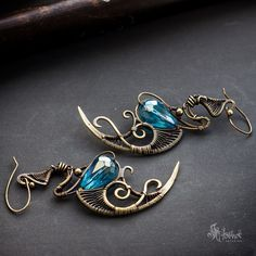 Fantasy jewelry. Wire wrapped fantasy, golden color, raw brass earrings with crystal beads.
