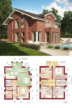 Haus mit Pool und roter Klinker Fassade - Fertighaus Grundriss Celebration 137 V11 Bien Zenker - HausbauDirekt.de