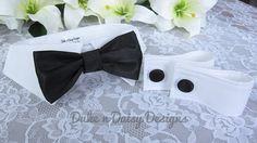 Black Dog Bow Tie Collar & Cuff Set - Black Satin - Wedding Dog Apparel