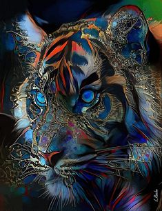 Wildlife Paintings, Animal Paintings, Fantasy Paintings, Fantasy Art, Art Tigre, Tiger Artwork, Tiger Pictures, Graffiti Wall Art, Colorful Animals