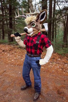 "Lumberjack deer o.O (I dunno if I wanna piss him off, he'd probably be like; ""So you like meat, huh wolfy boy? well then, come a lil' closer; I'll happily give you a SLICE"" o.O)"