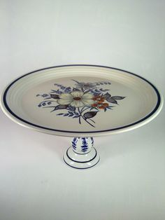 Handmade cake stand, made with vintage plate and candle stick holder. For sale at AlienVintage on Etsy.com