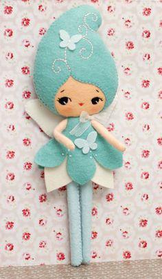 PDF. Blue fairy doll. Plush Doll Pattern, Softie Pattern, Soft felt Toy Pattern