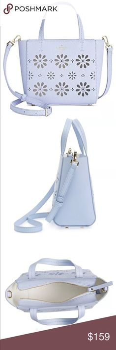 """Kate spade Sky Blue Crossbody handbag New With Tag  100% Authentic  Charming daisy perforations pretty up a pebbled leather crossbody bag outfitted with a convenient crossbody strap for styling ease. A lack of lining means your pretty little things can peek out from the petals.  SIze : 6.8"""" h x 7.4"""" w x 2.7"""" drop length: 4""""  soft pebbled cowhide with matching trim.  faux nappa lamb lining.  14 karat gold plated hardware.  style # pxru6554   Top zip closure , adjustable crossbody strap…"""