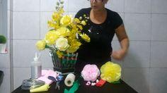 Vídeo 1 - Como fazer Flores de papel crepom. Por Fatima Fiocchi!