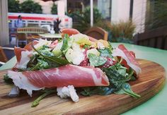 #TGDTSF Prosciutto di Parma on a big salad of arugula and spinach with hazelnuts, fresh goat cheese, countryline Toybox melons and organic strawberries, with a jalapeno mint dressing and balsamic reduction #TenderGreens #downtown #SanFrancisco #yelp #foodies #lovefood #goodfood #todaysspecial