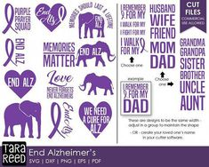 Alzheimers svg / End Alzheimers svg / Alzheimers Awareness / svg for Cricut / svg for Silhouette / Alzheimers / Commercial Use Allowed Alzheimers Tattoo, Alzheimers Quotes, Alzheimers Awareness, Dementia Quotes, Alzheimer's Walk, Walk To End Alzheimer's, Alz Walk, Mom And Grandma, Elderly Care
