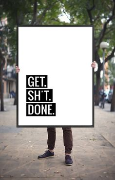 Art Digital Print Poster 'Get Sh*t Done' Typography Monochrome Inspirational Quote Motivation Giclee Wall Art Printable Digital Download