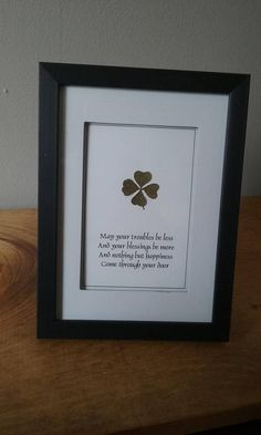 ecbf3b62ae2 Framed Irish Blessing with a REAL Four Leaf Clover - Good Luck Home Decor -  Lucky Shamrock WallHanging