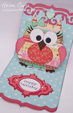 The Dining Room Drawers: Sizzix Pop 'n Cuts Girl Owl Birthday Card
