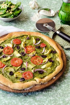 Vegan Mediterranean Pesto Pizza (add chicken breast and feta for those who aren't vegan and would like it)