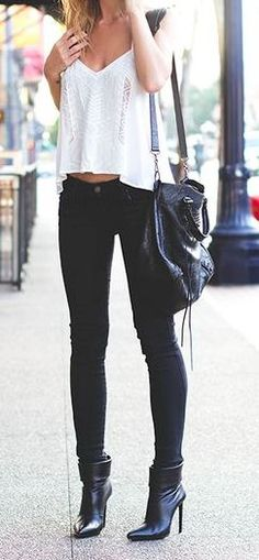 Edgy look | White tank top, black skinnies and booties