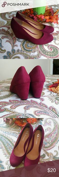 Wedge heels Like new. Maroon/Burgundy/wine color (depending on the light). Suede like material. Only worn while trying on. CL by Laundry  Shoes Heels