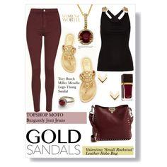 Gold Sandals: Burgundy by ambacasa