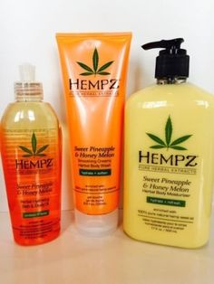 HEMPZ SWEET PINEAPPLE  HONEY MELON BODY MOISTURIZER LOTION WASH  OIL SET *** Read more reviews of the product by visiting the link on the image.