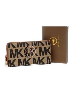 Michael Kors Purses Continental Monogram Leather Chestnut