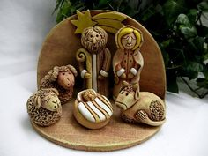 Nativity Creche, Christmas Nativity Set, Christmas Clay, Nativity Sets, Ceramic Nativity Set, Clay Art For Kids, Thrown Pottery, Clay Dolls, Homemade Crafts