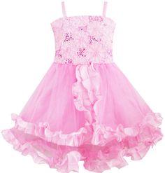 Girls Dress Tank Embroidered Pink Flower Trimmed Wedding Children Clothes 4-10 #SunnyFashion #Pageant
