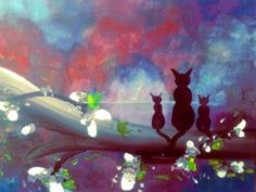 """Saatchi Art Artist krista may; Painting, """"Meowing Together"""" #art"""