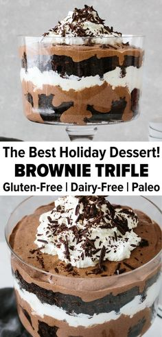 gluten free dairy free dessert This brownie trifle recipe is one showstopper of a dessert. Its made from layers of rich chocolate brownies, blended chocolate chia mousse, and homemade whipped cream. Its perfect for any party, holiday or gathering. Dessert Sans Gluten, Paleo Dessert, Vegan Desserts, Cool Desserts, Best Gluten Free Desserts, Healthier Desserts, Diy Dessert, Smores Dessert, Dairy Free Recipes