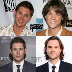 Jensen Ackles and Jared Padalecki before and after, from 2005 to 2015. Boy have they grown up! ☺️ #supernatural