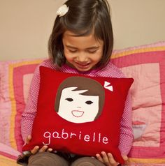 Olliegraphic custom pillows for kids. So fabulous! (But order now if you want them for the holidays)