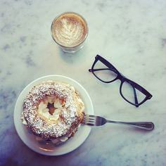 Sweetened Cortado, Paris Brest and @MezzmerEyewear glasses at Proof Bakery in L.A. // Photo by @bonnietsang • Instagram