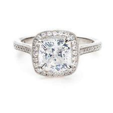 0.85 Carat Cushion Cut Diamond Halo Anniversary Engagement Ring 14k White Gold Love.
